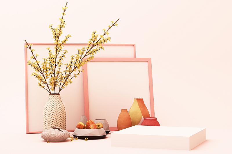 三维图形,粉色,几何形状,商品,极简构图,抽象,彩色蜡笔,出示,装饰,设计