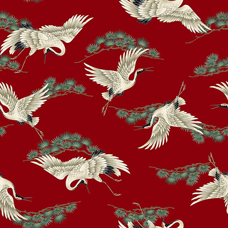 丹顶鹤,灰鹤,绘画插图,状态描述,优美,鸟类,艺术品,古典式,动物身体部位,计算机制图