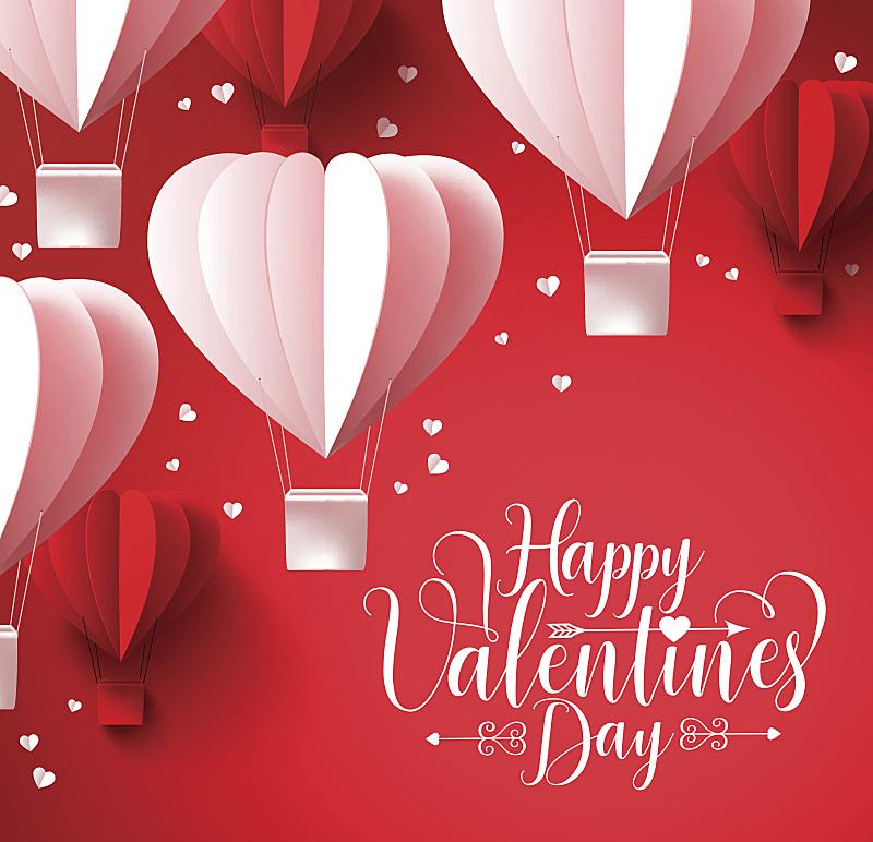 情人节,纸,气球,心型,幸福,横截面,情人节卡,热气球,华丽的,事件