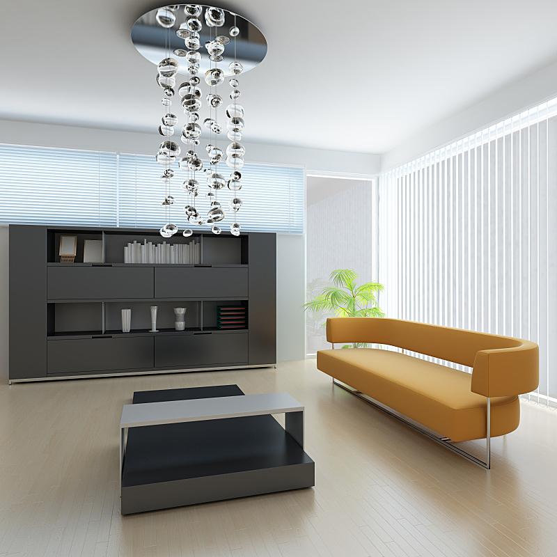 现代,起居室,座位,形状,无人,硬木地板,灯,家具,金属,沙发