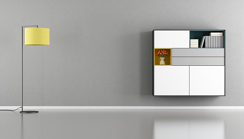 餐具柜,墙,起居室,极简构图,水泥,水平画幅,无人,灯,家具,现代