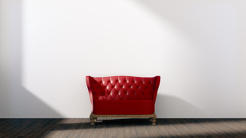 沙发,红色,白色,交通工具内部,空的,太空,住宅房间,式样,座位,水平画幅