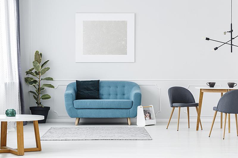 室内,平坦的,绿松石,水平画幅,银色,无人,椅子,家庭生活,灯,家具