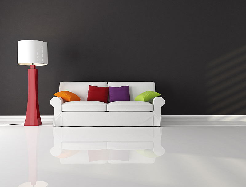 起居室,极简构图,水平画幅,墙,无人,灯,家具,居住区,现代,沙发