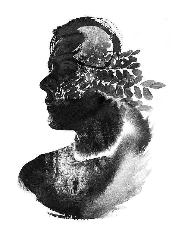 男人,自然,四元素,数码合成,侧面像,墨水,多帧影像,消失点,水彩颜料