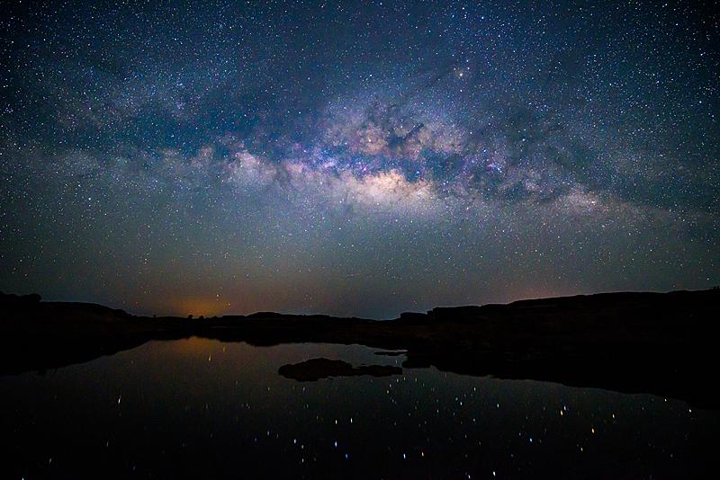 天空,湖,视角,银河系,星系,轻的,水,美,水平画幅,夜晚