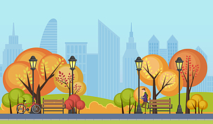 公园,绘画插图,矢量,秋天,城市,背景,建筑外部,自然美,天空,长椅