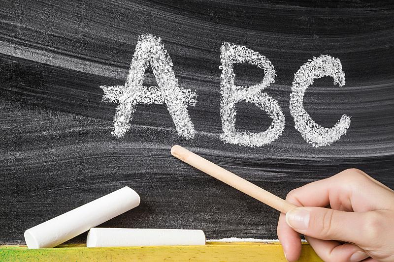 儿童,教师,概念,黑板,粉笔,文字,字母表次序,教,教育,绘制