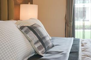 卧室,床,室内,华贵,枕头,高雅,式样,床头板,床头柜,天鹅绒