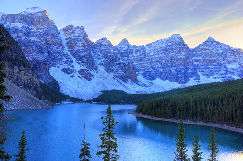 高动态范围成像,梦莲湖,落基山国家公园,班夫国家公园,冰碛,班夫,天空,公园,水平画幅,山