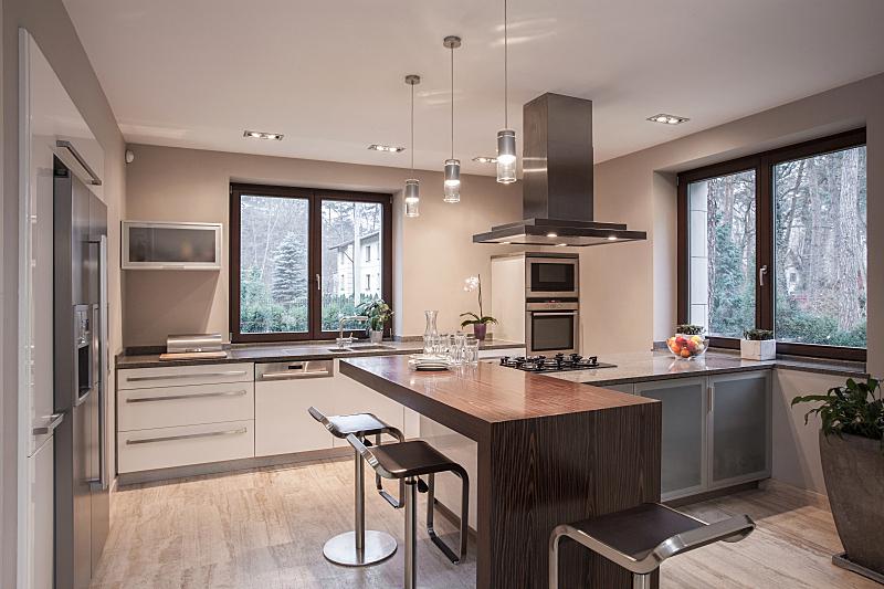 现代,厨房,房屋,抽油烟机,风管,水平画幅,无人,椅子,家具,居住区
