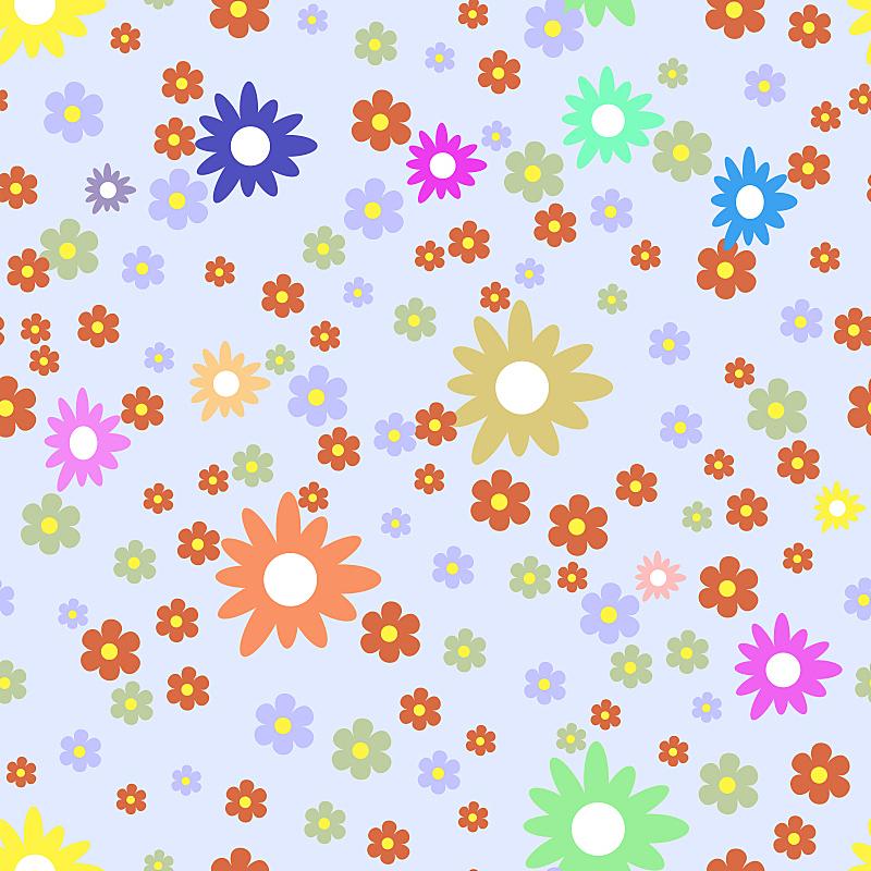 花纹,混沌,绘画插图,夏天,仅一朵花,式样,绿色,橙色,色彩鲜艳,蓝色