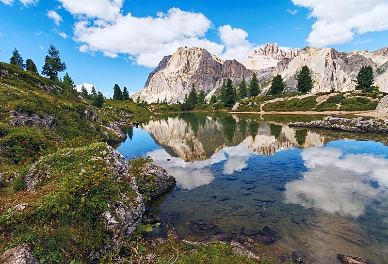 多洛米蒂山脉,阿尔卑斯山脉,意大利,苏打,水,天空,水平画幅,无人,夏天,户外