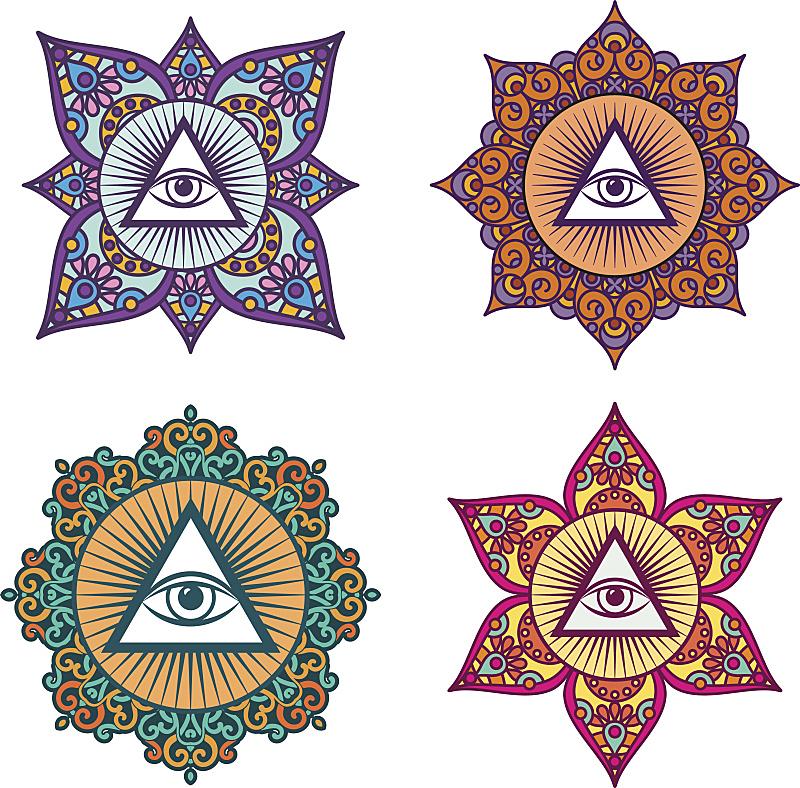 人的眼睛,三角形,燕式平衡式,共济会,秘密,波西米亚,华丽的,部分,砖,复古风格