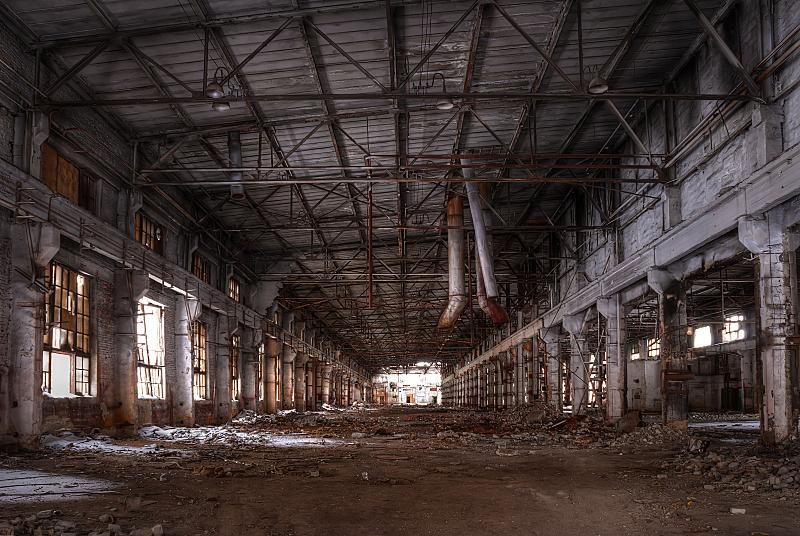 工厂,被抛弃的,车间,高动态范围成像,垃圾,水平画幅,梁,无人,巨大的,透视图