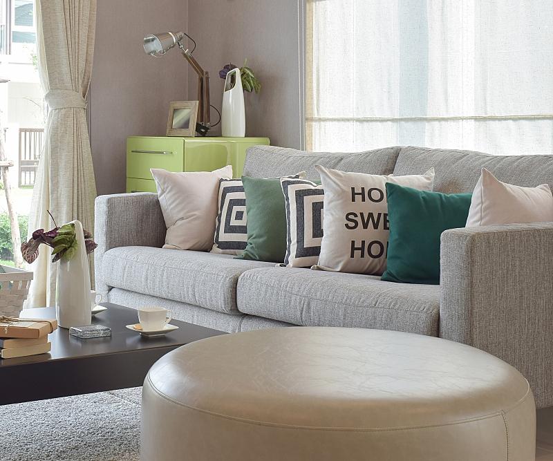 现代,沙发,吧椅,舒服,起居室,圆形,形状,水平画幅,椅子,皮革