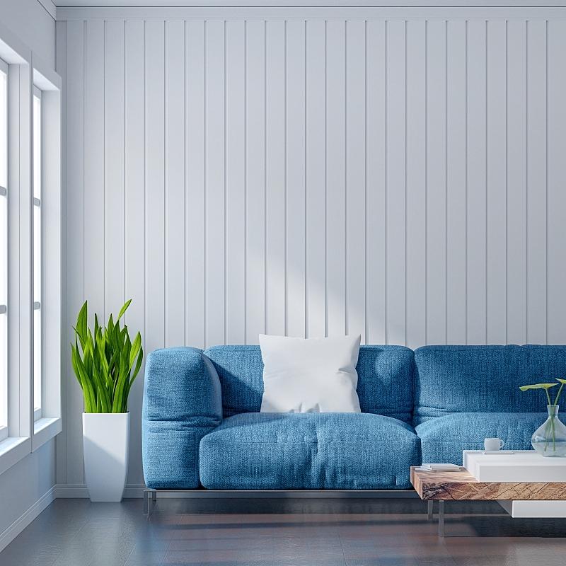三维图形,白色,空的,极简构图,乡村风格,墙,起居室,沙发,浅蓝色,室内