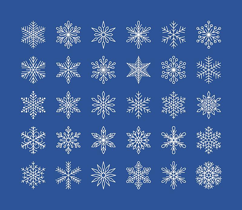 贺卡,有机食品,雪花,可爱的,几何形状,新年前夕,雪,平坦的,计算机图标