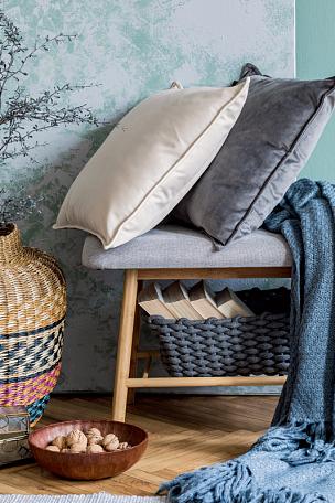 长椅,模板,木制,高雅,概念,个人随身用品,装饰物,极简构图,枕头,格子花纹