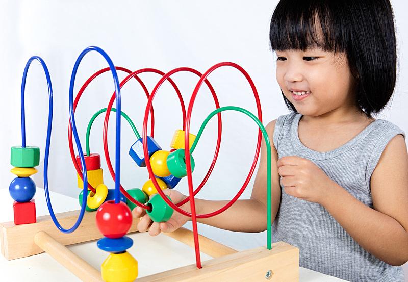 小的,女孩,玩具,进行中,中国人,多色的,亚洲,迷宫游戏,垒起,学龄前