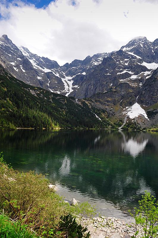 湖,山,垂直画幅,水,天空,雪,夏天,户外,云景