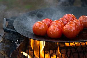 格子烤肉,煎锅,烤的,热,水平画幅,素食,无人,膳食,维生素,特写