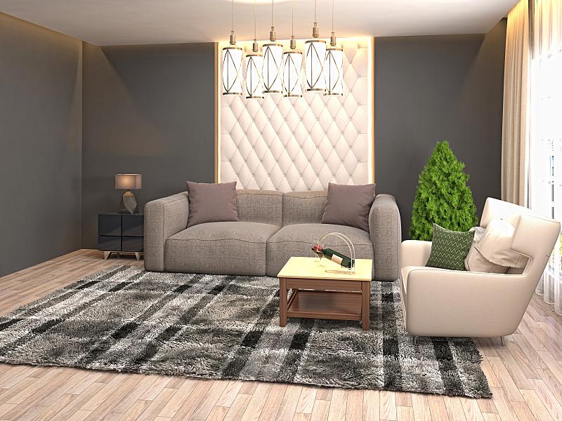 起居室,室内,三维图形,绘画插图,空的,扶手椅,舒服,灰色,沙发,现代