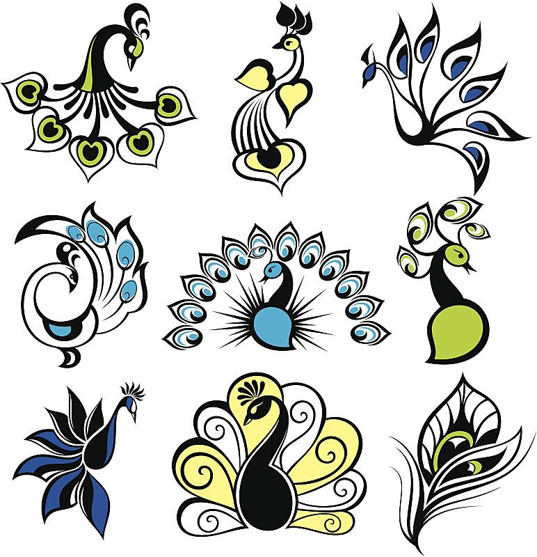 孔雀,鸟类,孔雀羽毛,野生动物,动物,家禽,尾巴,背景,绘画插图,剪影