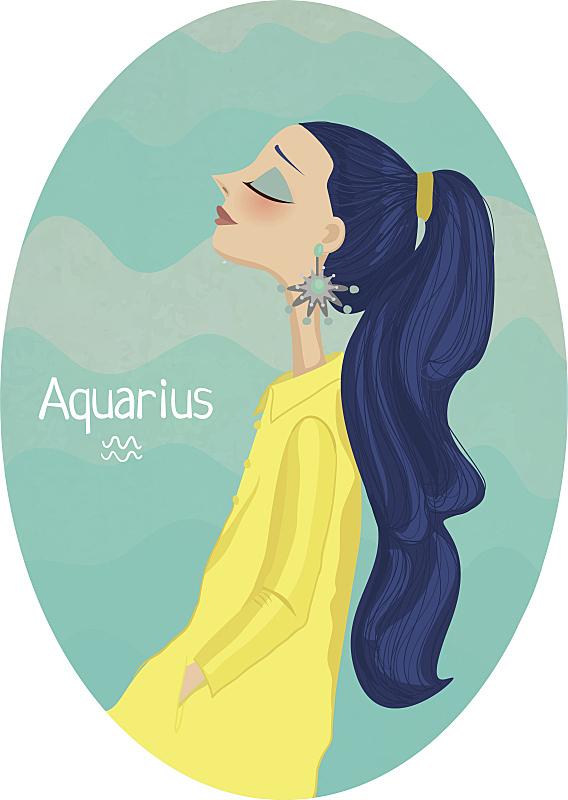 水瓶座,标志,十二宫图,可爱的,灵感,一个人,女人,头发,想法,背景