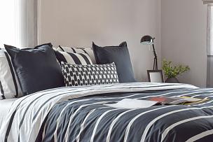 灯,式样,黑色,枕头,极简构图,卧室,床头柜,水平画幅,无人,家庭生活