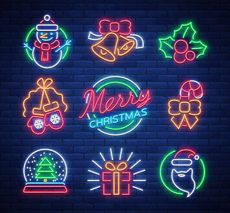 贺卡,绘画插图,矢量,新年前夕,符号,霓虹灯,传单