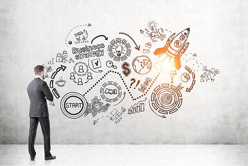 新创企业,男人,草图,看,背面视角,绘画插图,脑风暴,商务策略,领导能力,水平画幅