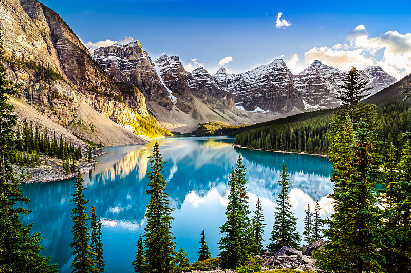 湖,山脉,风景,地形,洛矶山脉,阿尔伯塔省,国内著名景点,加拿大,冰碛,山