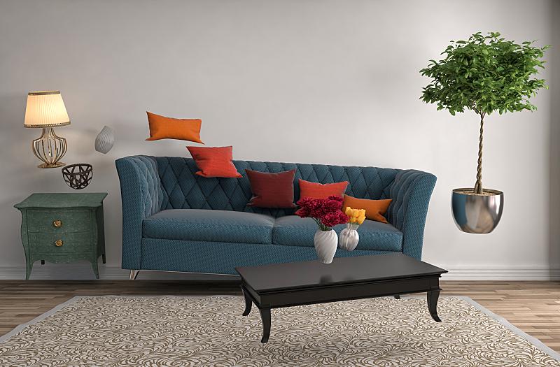沙发,三维图形,绘画插图,起居室,水平画幅,形状,墙,无人,灯,家具