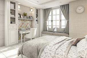 斯堪的纳维亚人,卧室,儿童,三维图形,白色,简单,座位,水平画幅,椅子,家具