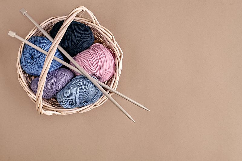 篮子,羊毛,针织,反差,视角,顶部,个人随身用品,球,钩针编织品,艺术