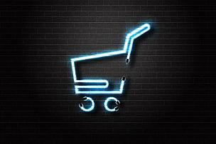 电子商务,矢量,分离着色,市场,概念,计算机图标,背景,霓虹灯,购买,装饰