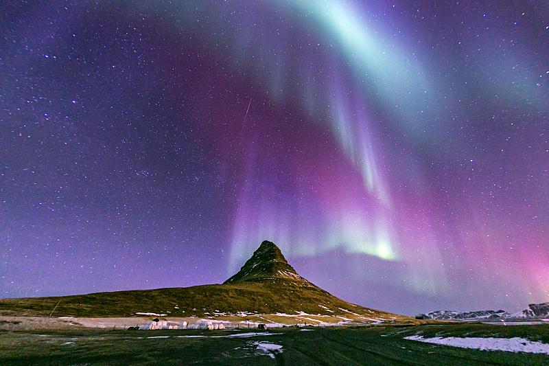 北极光,冰岛国,极光,冻原,水,公园,水平画幅,山,雪,无人