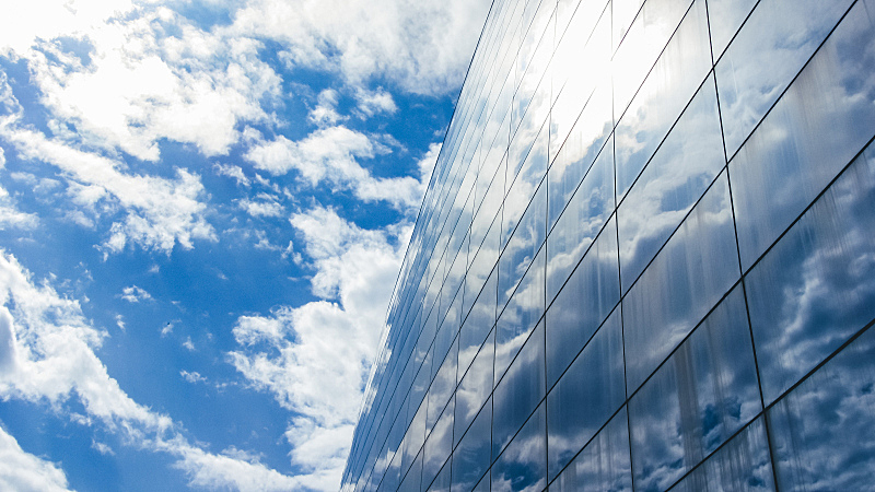 建筑外部,玻璃,天空,蓝色,横截面,部分,科技,顶部,云,现代