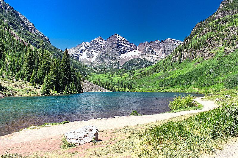 玛尔露恩贝尔峰,夏天,阿斯彭,科罗拉多州,股票,图像,水,留白,水平画幅,无人