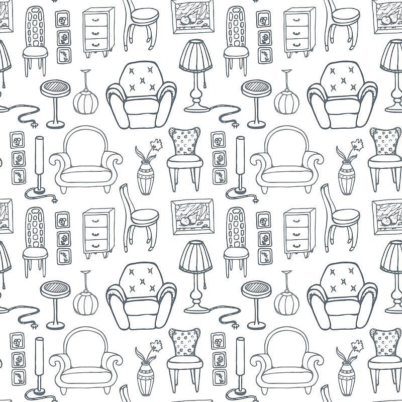 家具,式样,椅子,乱画,轮廓,背景分离,扶手椅,室内,图像,复古风格