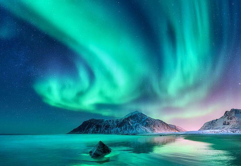 挪威,北极光, 罗弗敦群岛 ,寒冷,斯堪的纳维亚半岛,雪,极光,北欧,杆,背景
