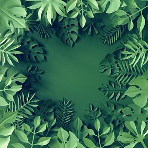 叶子,纸,边框,三维图形,背景,蓝色,热带雨林,鸡尾酒,折纸工艺,异国情调