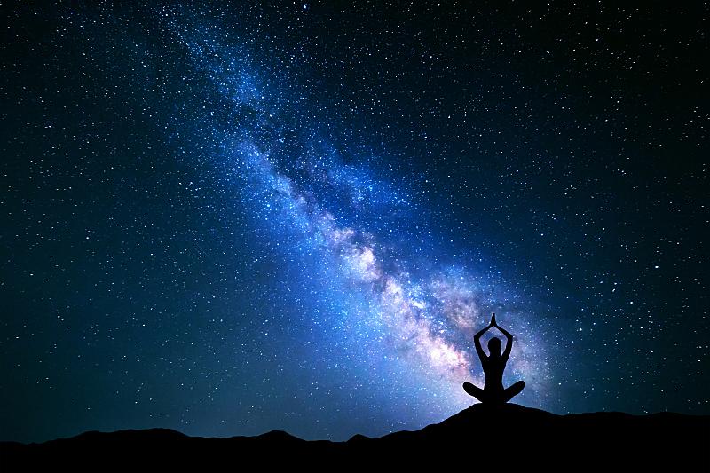 瑜伽,银河系,女孩,禅宗,太空,星系,平和,活力,夜晚