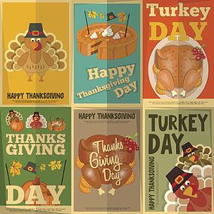 火鸡,火鸡肉,南瓜派,烤火鸡,可爱的,贺卡,烤的,食品,复古风格