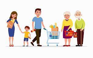 绘画插图,商店,祖父,购物中心,矢量,女人,男人,平坦的,商品,超级市场