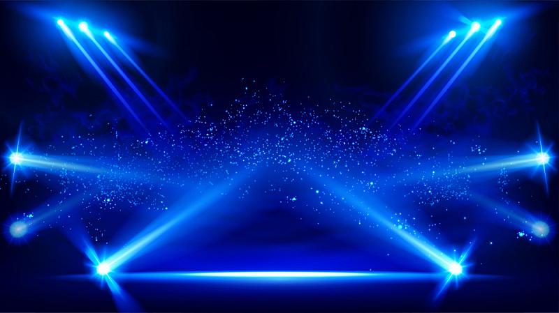 光效果,矢量,舞台,聚光灯,蓝色,黑色背景,风景,干冰,投影设备,照亮