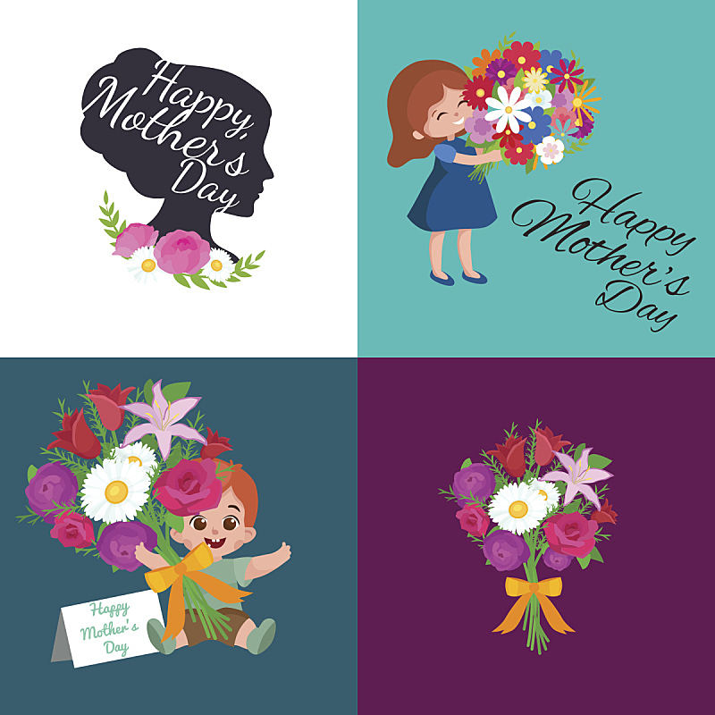 母亲节,男婴,贺卡,绘画插图,儿童,矢量,女孩,背景,母亲,文字