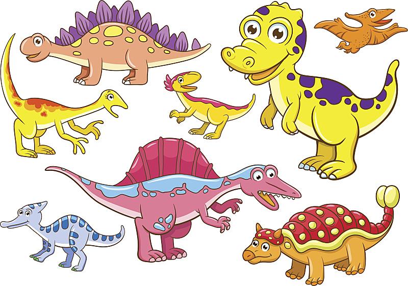 可爱的,恐龙,自然,草地,绘画插图,性格,面部表情,卡通,幼小动物,已灭绝生物