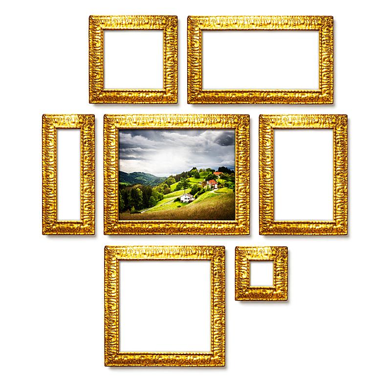 边框,黄金,合成图像,留白,古董,艺术,墙,无人,古老的,古典式